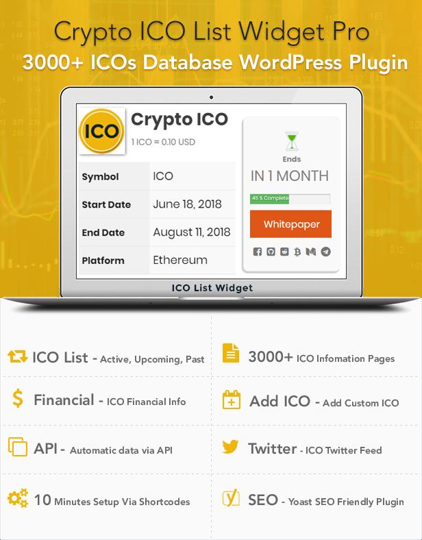 Crypto ICO List Widgets Pro - WordPress ICO Database Plugin - 1